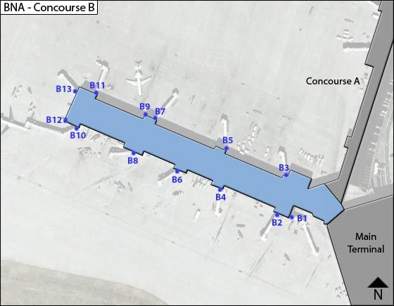 Nashville Airport BNA Concourse B Map