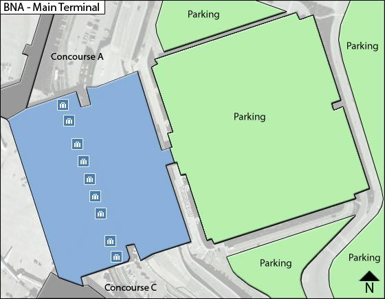Nashville Airport Main Terminal Map