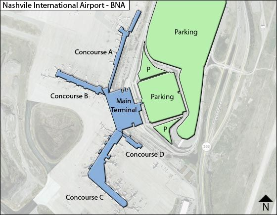Map Of Nashville Airport Nashville BNA Airport Terminal Map