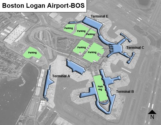 Logan Airport Parking Map Boston Logan BOS Airport Terminal Map Logan Airport Parking Map