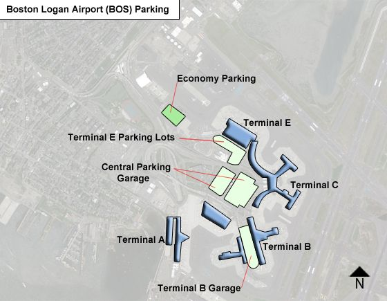 Boston Logan BOS airport parking map