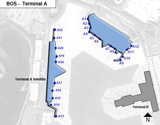 Boston Logan Airport BOS Terminal A Map