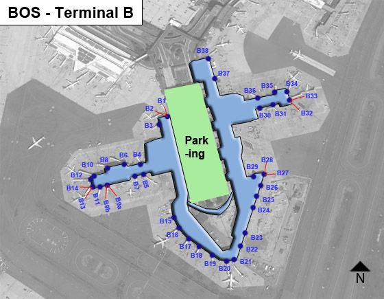 Boston Logan Airport BOS Terminal B Map