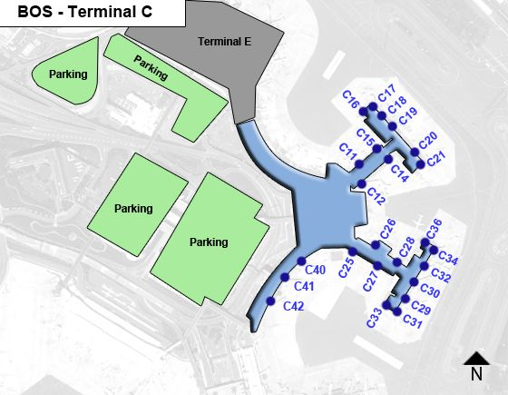 Boston Logan Airport BOS Terminal C Map