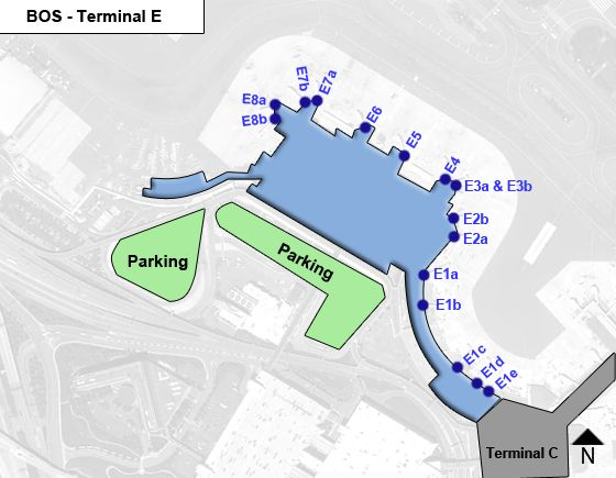 Boston Logan Airport BOS Terminal E Map