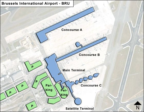 Map Of Brussels Airport Brussels BRU Airport Terminal Map