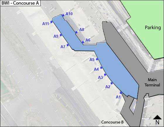 Baltimore Airport Concourse A Map