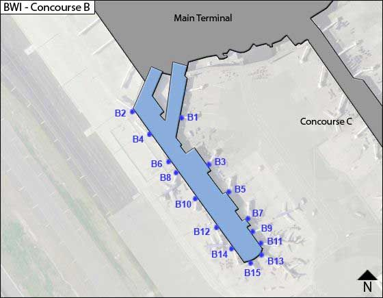 Baltimore Airport Concourse B Map