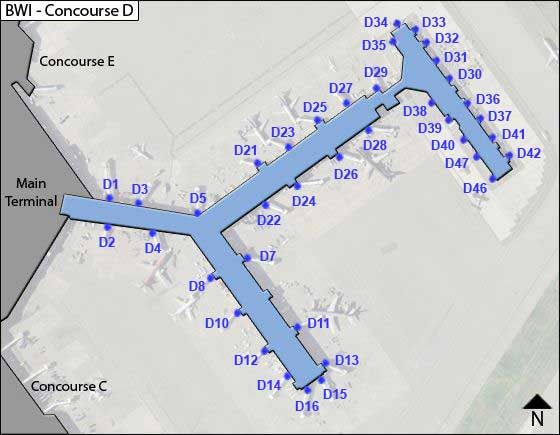Baltimore Airport Concourse D Map
