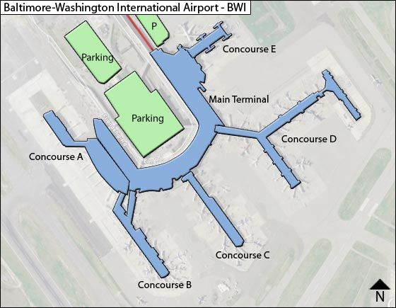 Baltimore Washington BWI Airport Terminal Map
