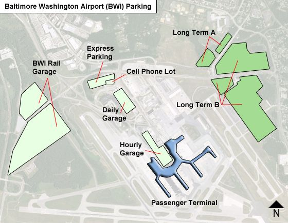 Baltimore Washington BWI airport parking map