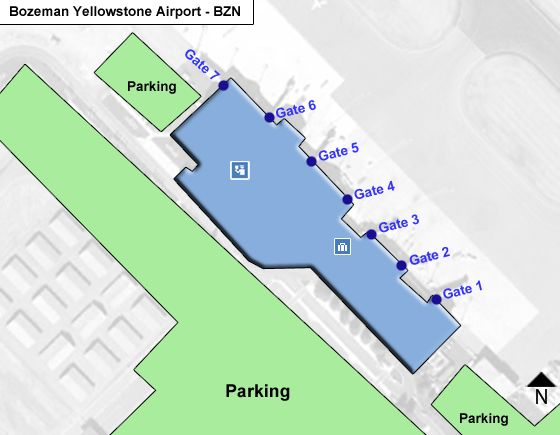 Bozeman Yellowstone BZN Terminal Map