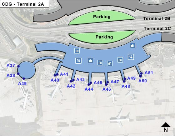 Roissy   Airport Terminal 2A Map
