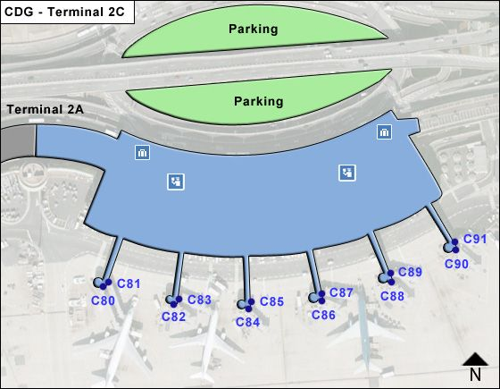 Roissy   Airport Terminal 2C Map