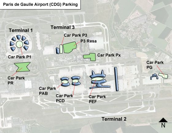 Paris de Gaulle CDG airport parking map