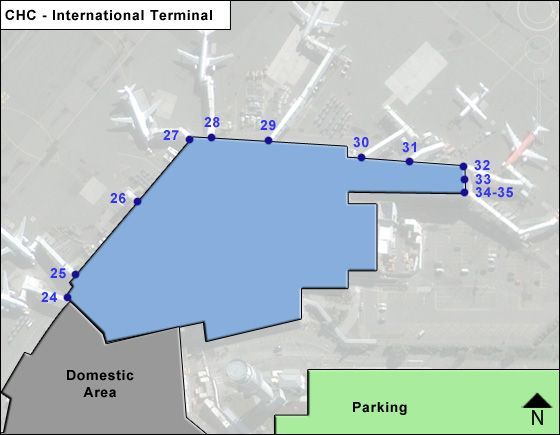 Christchurch International CHC Terminal Map