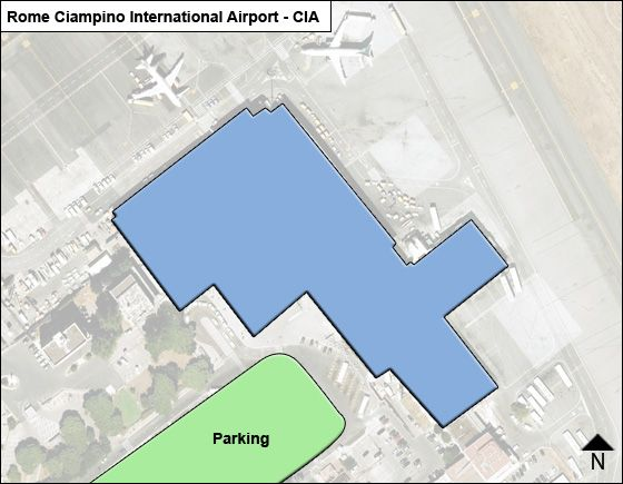 Fiumicino, RM Airport Overview Map