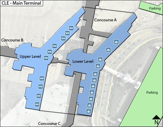 Cleveland Airport Main Terminal Map
