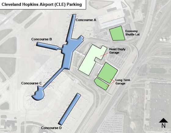 Cleveland Hopkins CLE airport parking map