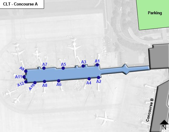 Charlotte Airport Concourse A Map