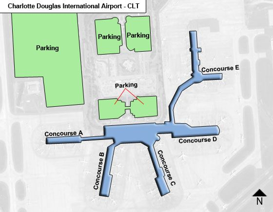 Charlotte Airport Overview Map