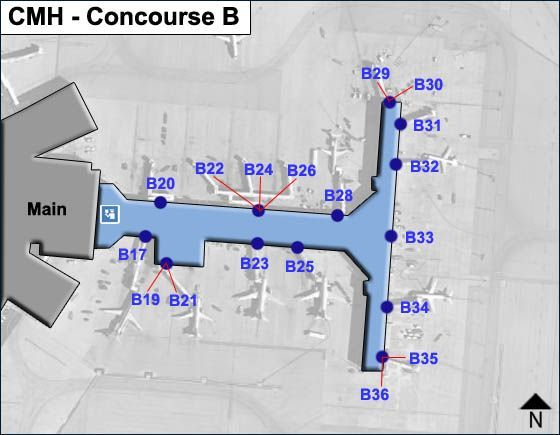 Columbus Airport Concourse B Map