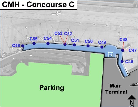 Columbus Airport Concourse C Map