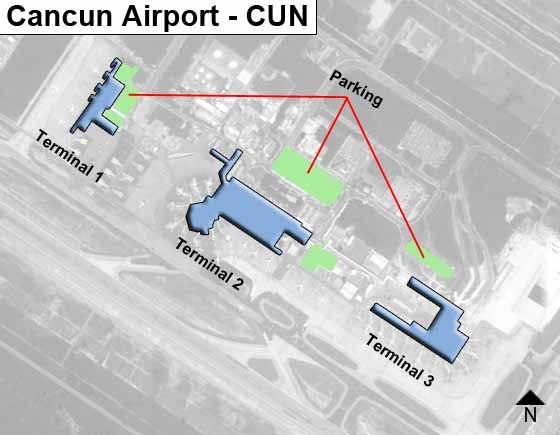 Cancun CUN Airport Terminal Map on