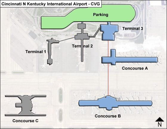 cincinnati n kentucky cvg airport terminal map