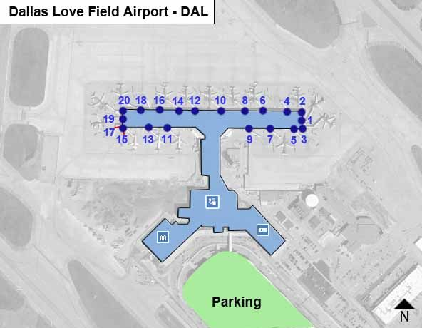 Dallas Love Field DAL Airport Terminal Map