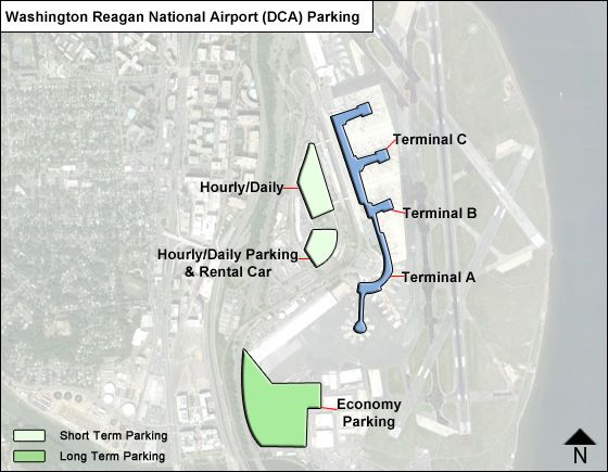 Reagan National DCA airport parking map