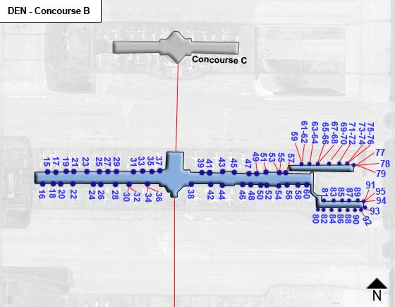 Denver Airport DEN Concourse B Map