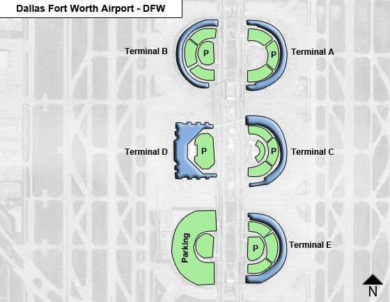Dallas Fort Worth DFW Airport Terminal Map on