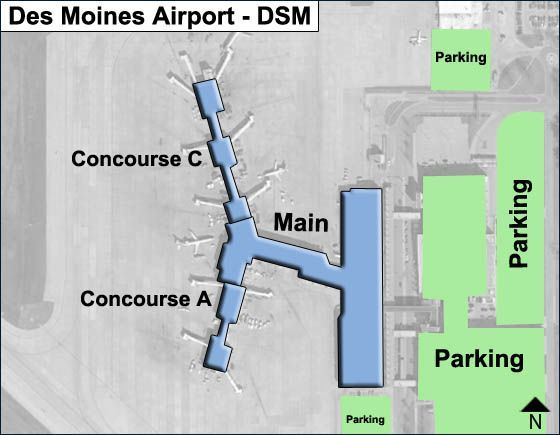 Des Moines DSM Airport Terminal Map on