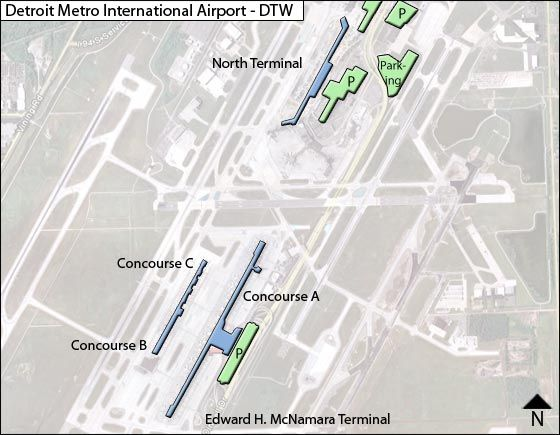 Detroit Metropolitian DTW Airport Terminal Map on