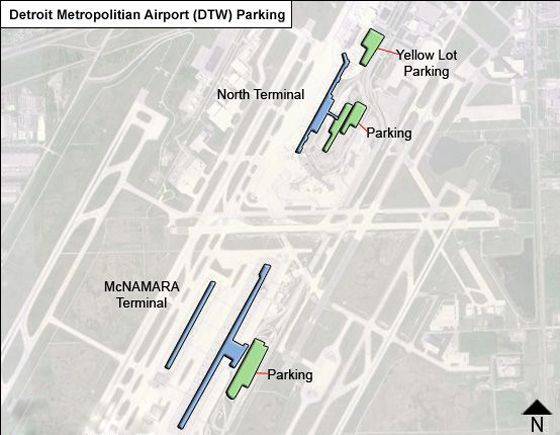 Detroit Metropolitian DTW airport parking map