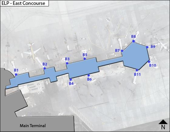 El Paso  Airport East Concourse Map