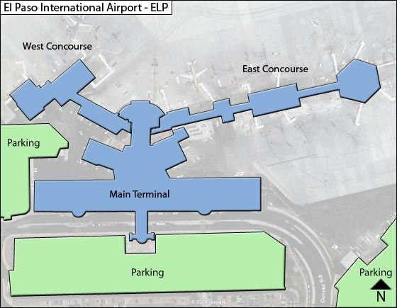 El Paso  Airport Overview Map