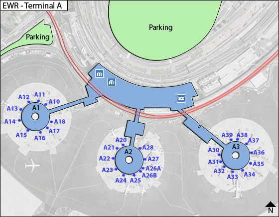 Newark Liberty Airport EWR Terminal A Map