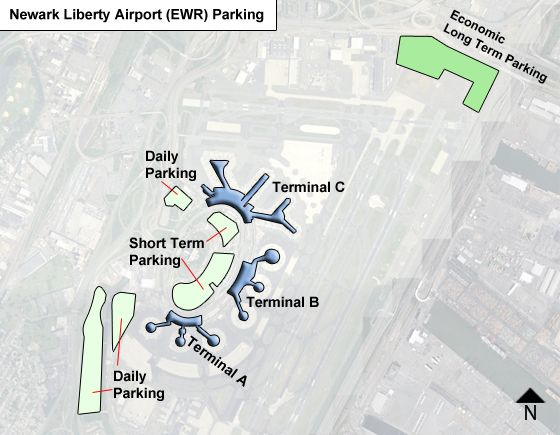 Newark Liberty EWR airport parking map