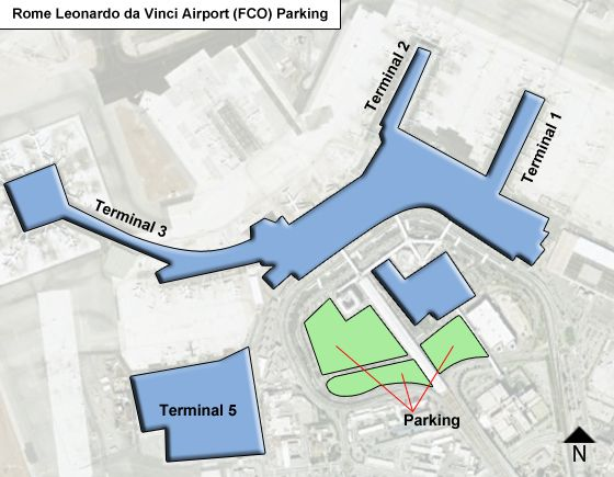 Rome Leonardo da Vinci FCO airport parking map