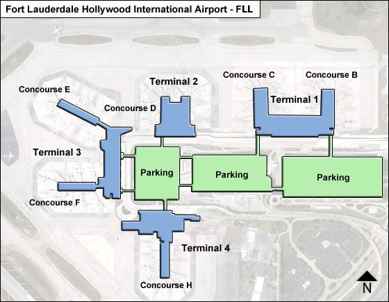 Fll Terminal Map Fort Lauderdale Hollywood FLL Airport Terminal Map