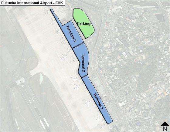 Fukuoka, Kyushu Airport Overview Map