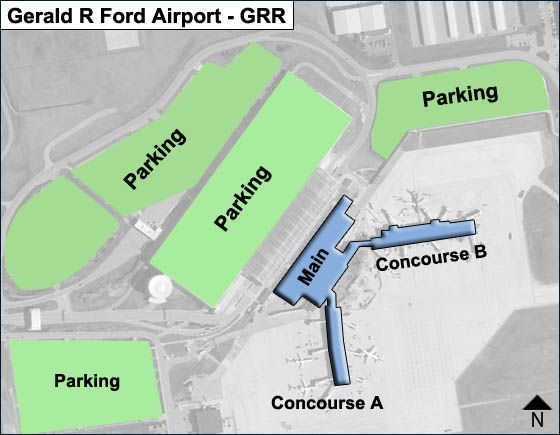 Grand Rapids Airport Main Terminal Map