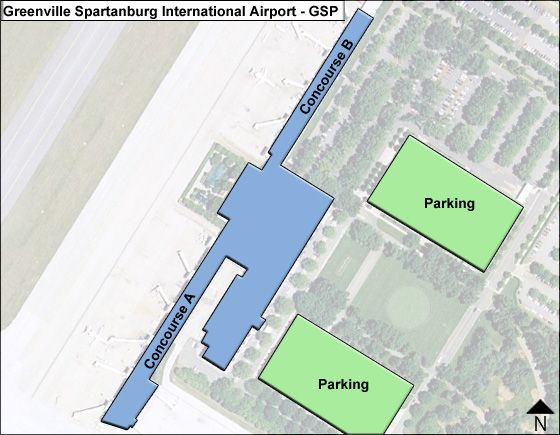 Greenville Spartanburg GSP Terminal Map