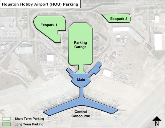 Houston Hobby HOU airport parking map
