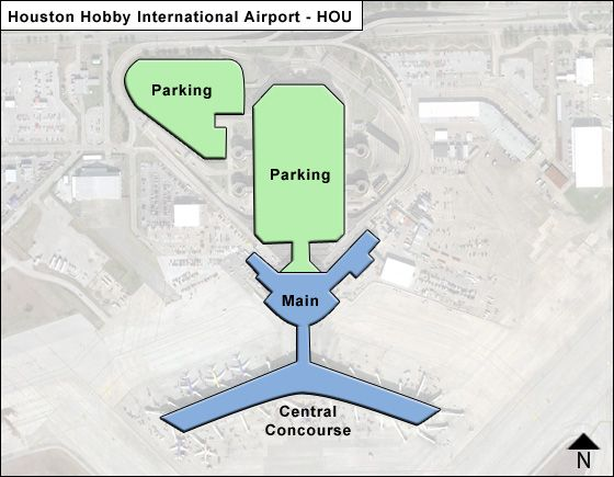 Houston Hobby HOU Airport Terminal Map - Houston terminal map