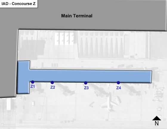 Chantilly Airport Concourse Z Map