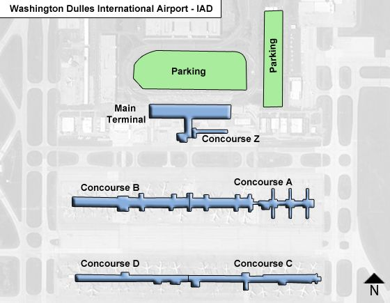 Washington Dulles IAD Airport Terminal Map