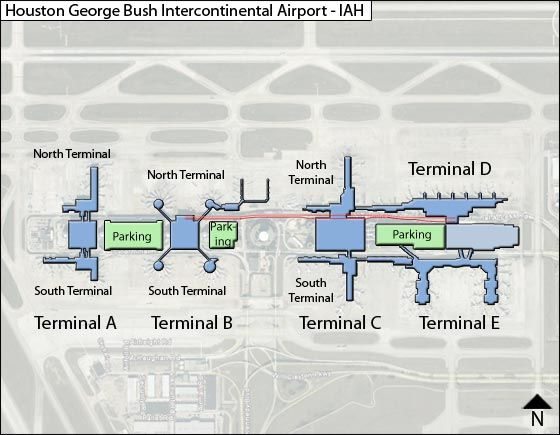 Houston Intercontinental IAH Airport Terminal Map - Houston terminal map